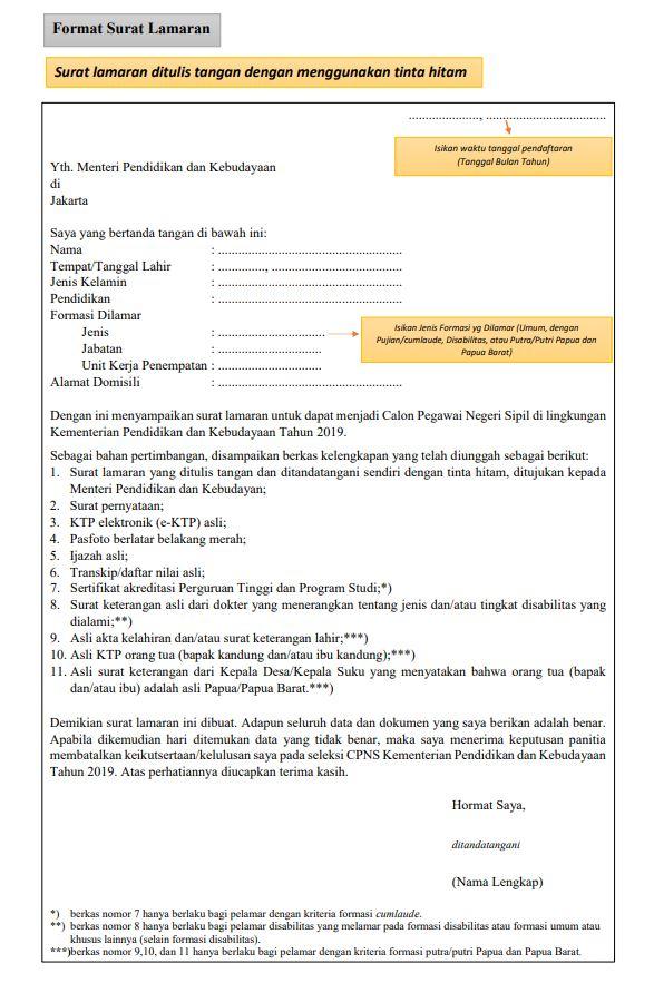 contoh surat lamaran cpns di kementrian pendidikan